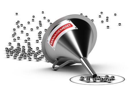 Trechter met het woord management en vele verchroomde ballen bij de uitgang is er een grijze doelgroep - Abstract schematische 3D beeld concept van render geschikt voor conceptuele illustratie van een conversie trechter of leidt het management