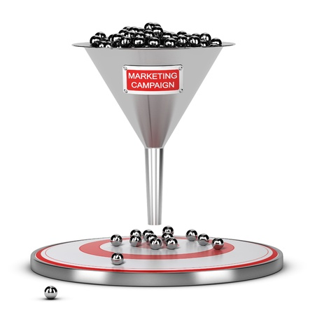 campaigns: One funnel with a white and red sign and a target on the floor - Abstract schematic 3D render concept image suitable for conceptual illustration of a marketing campaign or marketing audience