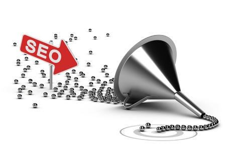 seo concept: Funnel with many chrome balls at the output there is a grey target, at the enter there is an arrow with the word SEO - Abstract schematic 3D render concept image suitable for conceptual illustration of a seo campaign