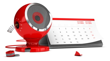 short break: Damaged red sound speaker over white background with calendar at the background - 3D render concept design image suitable for planned obsolescence or limited life of a product