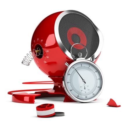 Damaged red sound speaker over white background with stopwatch at the foreground - 3D render concept design image suitable for planned obsolescence or poor quality product testing. Stock Photo - 20857969