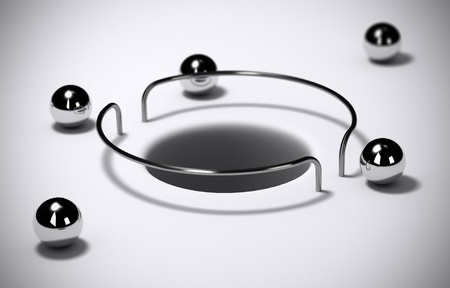 Hole protected with wire guard and chrome balls - Abstract schematic 3D render concept image suitable for conceptual illustration of secure area Stock Illustration - 21171244