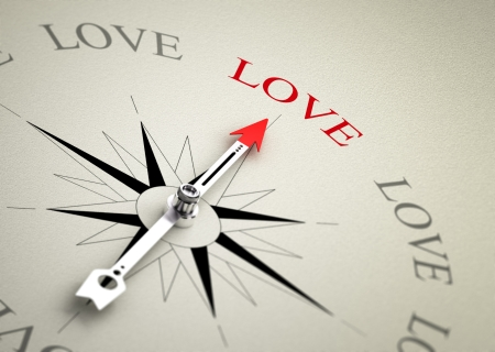 Compass with arrow pointing to the word love  3D render image suitable for love coaching or couselling concept, 3D render with depth of field effect  photo