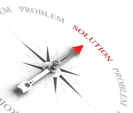 Bússola com seta apontando para a palavra solução vs problemas 3D rendem a imagem apropriada para o conceito de consultoria de negócios, 3D rendem com efeito de profundidade de campo