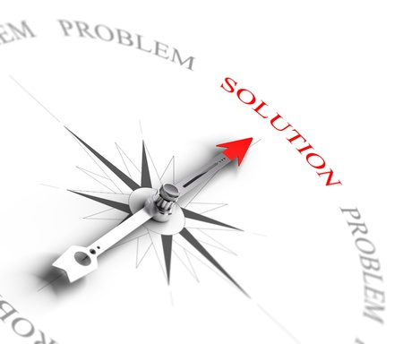 solve problems: Compass with arrow pointing to the word solution vs problems  3D render image suitable for business consulting concept, 3D render with depth of field effect