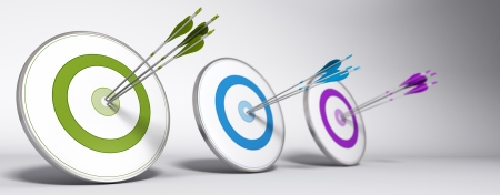 target market: Marketing objective concept - Three targets with different colors and arrows hitting the center of each one - 3D render with depth of field effect