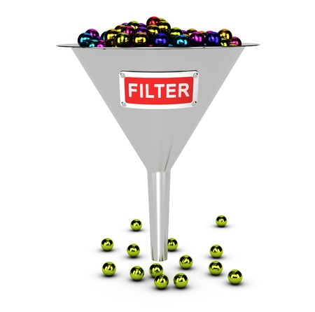 One funnel with colorful balls, white background  Conceptual image suitable for web content filter concept