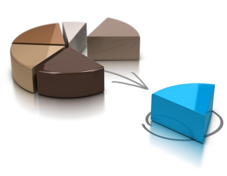 share market: Brown pie chart over a white background with a blue segment at the foreground, 3d illustration suitable for market share or financial concept