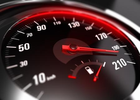 compteur de vitesse: Près d'un compteur de vitesse de la voiture avec l'aiguille pointée vers une grande vitesse, effet de flou, image conceptuelle pour le concept de grand excès de vitesse ou conduite imprudente
