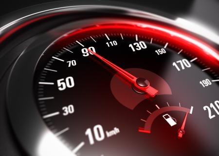chilometro: Primo piano di un tachimetro auto con l'ago rivolto verso 90 km h, effetto di sfocatura, immagine concettuale per il concetto di guida sicura