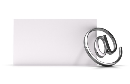e-mail symbol over a blank paper page 3d illustration suitable for contact or newsletter concept