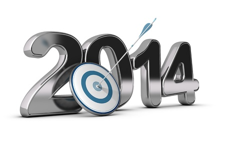 two thousand and fourteen: 3D metallic Year 2014 with a target at the foreground with an arrow hitting the center, concept image for achieving business objectives  Stock Photo