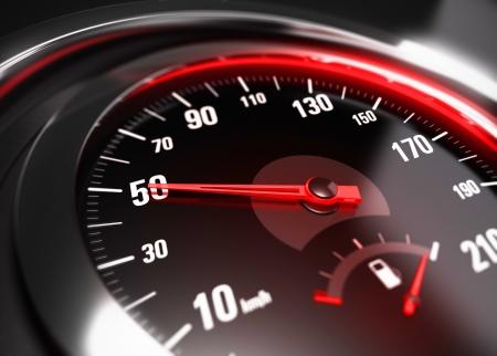 compteur de vitesse: Près d'un compteur de vitesse de la voiture avec l'aiguille pointée vers 50 km h, effet de flou, image conceptuelle pour le concept de la sécurité routière