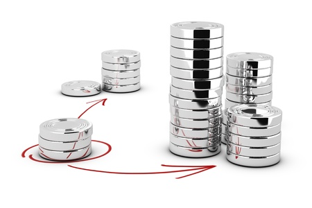 win money: Stack of generic coins over white background with arrows pointing the highest pile  Conceptual image for money investment Stock Photo