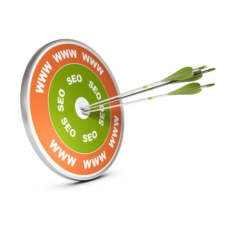 Three arrows hitting the center of a target with www and SEO marking, image over white, concept image for internet strategy purpose  Stock Photo - 21398022