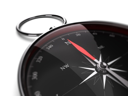 Close up of a compass with needle pointing the north direction  3D render image suitable for guidance concept photo