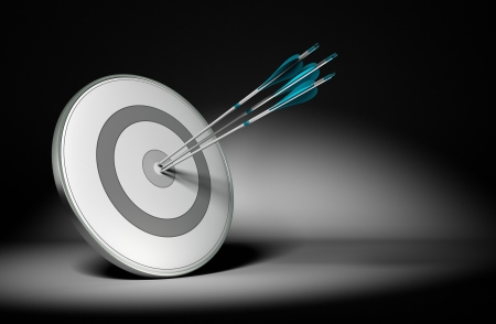reached: Three arrow hit the center of a grey design target, 3d render with black background and light effect  Concept image suitable for improving performance or achieving results