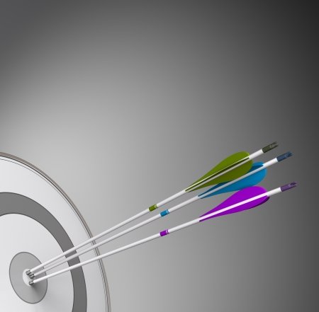 Three arrows hitting the center of a grey target with high precision photo
