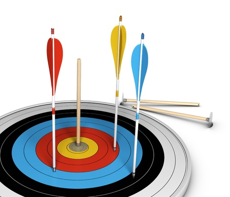 unbeatable: Conceptual image of an outsider, with one basic wooden arrow hitting the center of a target