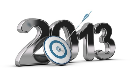 two thousand thirteen: 3D metallic Year 2013 with a target at the foreground with an arrow hitting the center Stock Photo