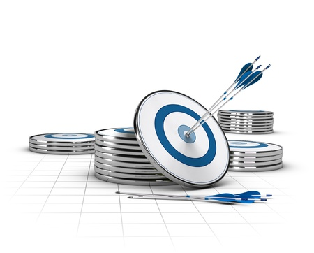 business goal: Three arrows hitting the center of a target with many targets stacked around Stock Photo