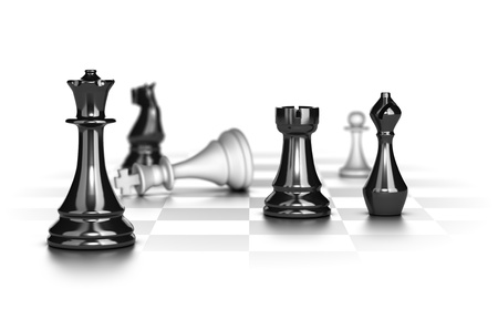Chess game with the white king in checkmate over white background