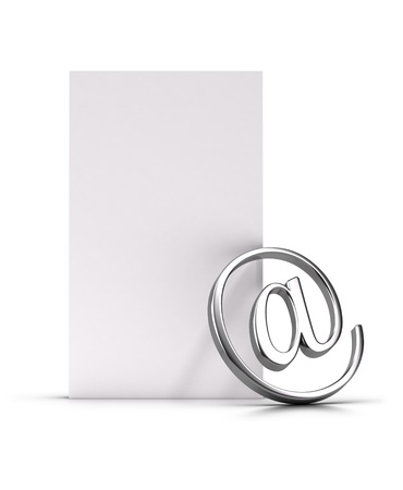 adress: Email symbol over a vertical blank page, 3d illustration suitable for contact address or newsletter concept  Stock Photo