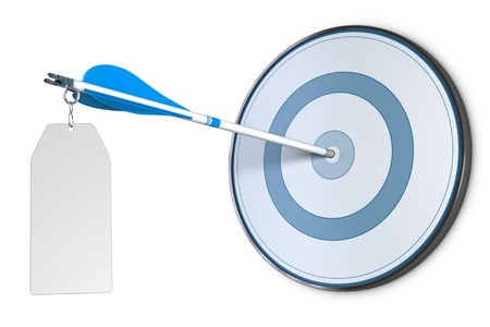 archery target: One arrow hit the center of a blue target Stock Photo