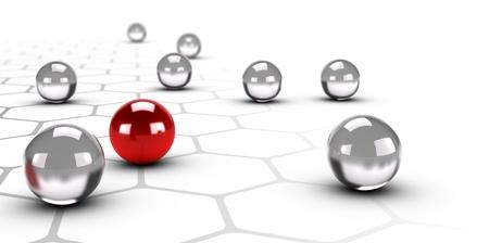 벌집 구조 설계로 회색 네트워크 위에 빨간 공 하나