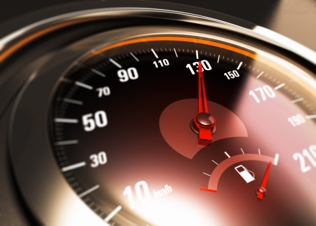 depth measurement: Close up of a car speedometer with the needle pointing 130 Kmh