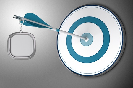 extremity: Business Communication Concept or branding consisting of one blank sign fixed at the extremity of an arrow who hits the center of a blue target over grey background