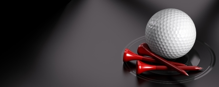 golfing: Golf ball and red tee over black background with copy space on the left  Image suitable for an invitation card for golfing Stock Photo