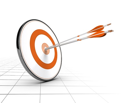 Advice or business competition concept  One target and three arrows achieving their objectives  Perspective background and orange color  Stock Photo