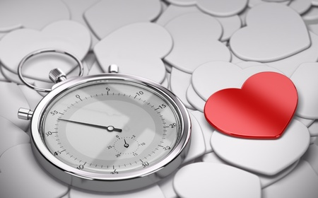 speed dating: Speed dating and love concept - Many white hearts shapes plus one red heart and a stopwatch  Stock Photo