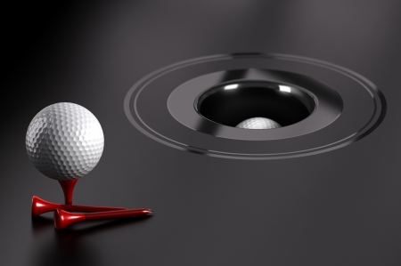 achievable: Easy success or attainable objectives  Golf ball and red tee over black background with a hole