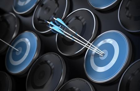 ottimo: Eccellenza di business, corporate performance management, e il raggiungimento degli obiettivi concetto composto da molti obiettivi e le tre frecce che colpisce il centro dei toni scuri oggettivi nero e blu, più effetto profondità di campo