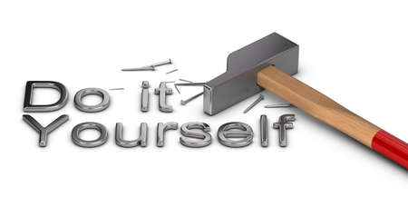do it yourself: Word Do it yourself written with metal letters, one hammer and some nails over white background