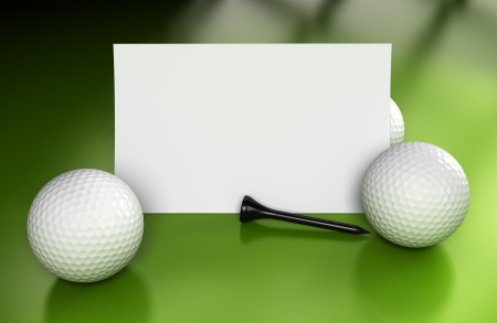 tee: Golf sign or business card over green background with three balls and a black tee  Image suitable for communication or invitation card