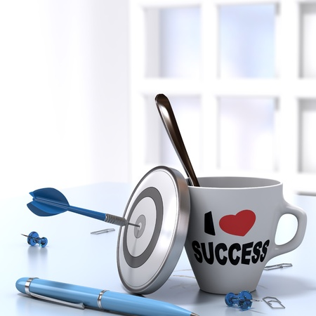 dartboard: Successful Executive Concept consisting of one mug where it is written I love success and one dartboard with a dart hitting the bullseye  3D render 1mage Stock Photo