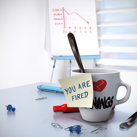 Lack of Performance or Losing Job concept, one mug with a note - you are fired and a flipchart with a downtrend  3D render photo