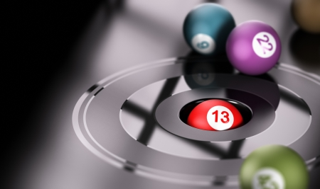 Gambling concept, chance and number thirteen  One ball with the number 13 inside a hole with other balls around it  Conceptual 3D render image Imagens - 22626860