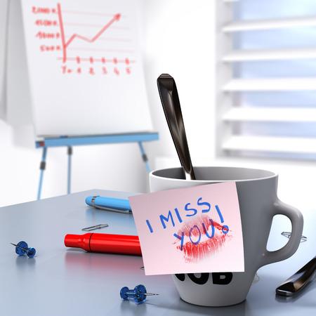 te extra�o: Romantic concepto de relaci�n laboral que consiste en una taza y una nota donde se escribe te extra�o y un rotafolio con la tabla de crecimiento Foto de archivo