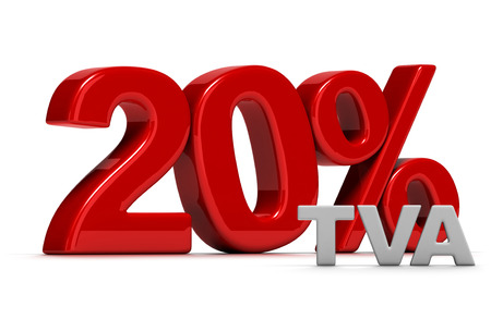 vat: red number 20 percent TVA written in 3D, French VAT