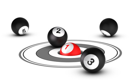 classifying: Leader concept, best positioning  One red ball with the number 1 inside a hole with other balls around it  Conceptual 3D render image Stock Photo