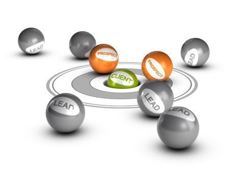 판매 리드 개념, 고객이 하나의 녹색 다른 공의 전망과 구멍 안쪽 단어 클라이언트와 공은 그것의 주위에 이르게 개념적 3D 이미지를 렌더링