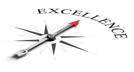 kavram: Rekabetçi mükemmellik ulaşmak için beyaz bir kelimeyi Kavramsal görüntü işaret iğne ile pusula kavramı Stok Fotoğraf