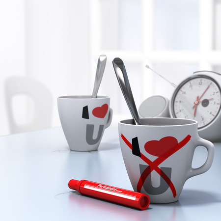 divorcing: Two mugs with I Love U and a red cross on the one at the foreground, conceptual 3D render for leaving a relationship or couple divorce