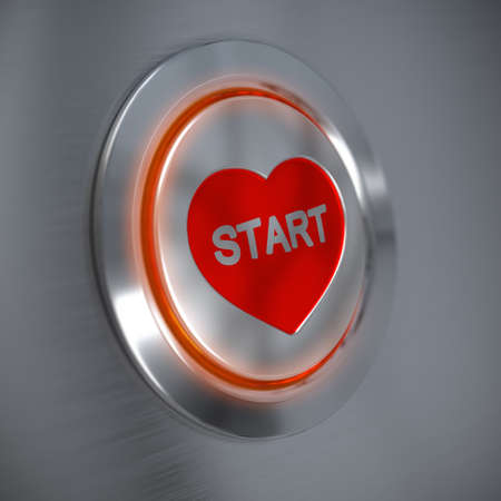 3D render of an online dating button over an alluminum background with a depth of field effect, close up   photo