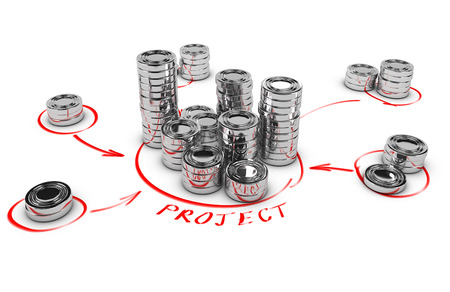 collaborative: Stacks of generic coins over white background with red arrows pointing the highest pile  Conceptual 3D render for money investment or collaborative finance
