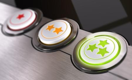 ottimo: Cliente concetto di feedback, sulla base di stelle da uno a tre, Simbolo concettuale 3D rendering di eccellente e positivo effetto Blur soddisfazione del cliente